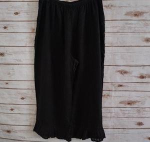 Flax Linen Black Ruffle Bedskirt Bloomers Large